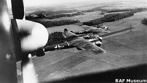 Dornier Do 17Z flying low over the countryside