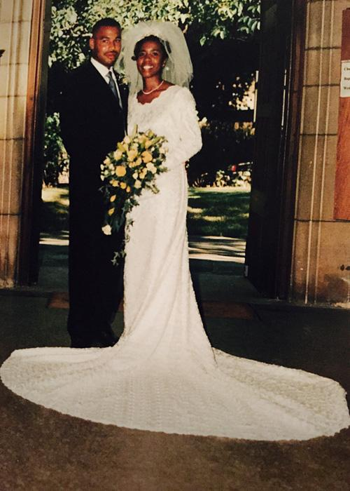 Clive Myrie's sister in her wedding dress