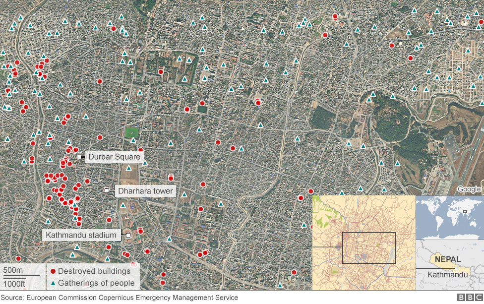 865f1a5f5a2065 Nepal earthquakes  Devastation in maps and images - BBC News