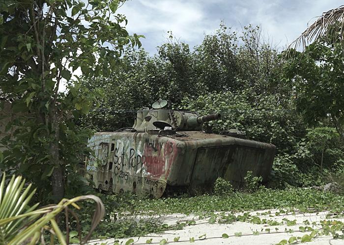 A rusting tank on Pagasa