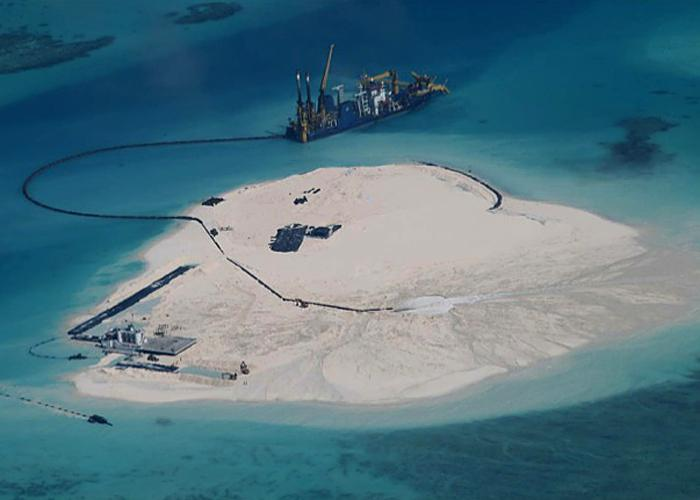 Chinese reclamation work on Johnson South Reef (Image: Philippine armed forces)