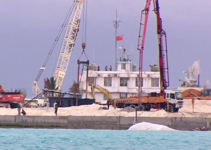 Chinese reclamation work on Johnson South Reef