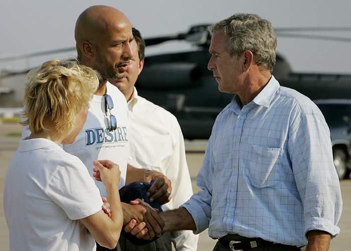 Mayor Ray Nagin meets President Bush 2 September 2005