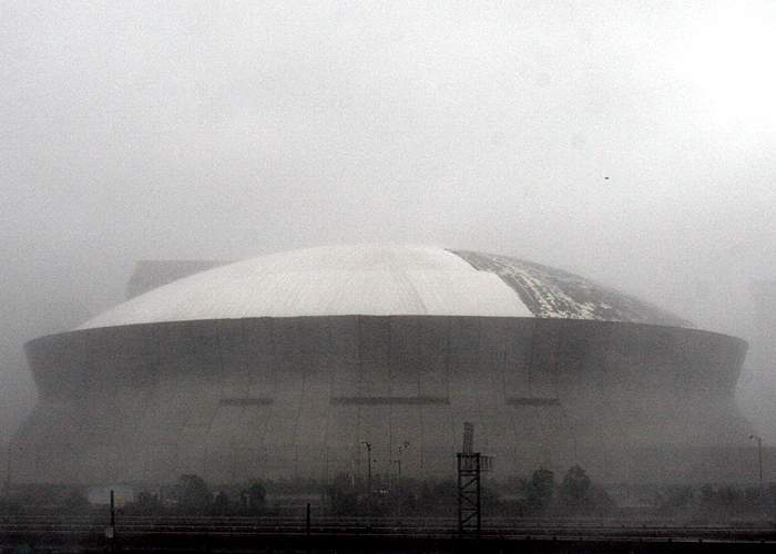 The Superdome is battered