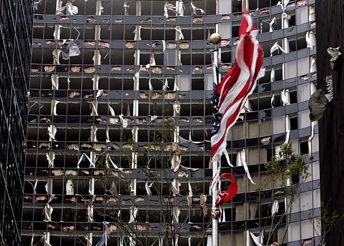 Broken windows at the Hyatt Hotel
