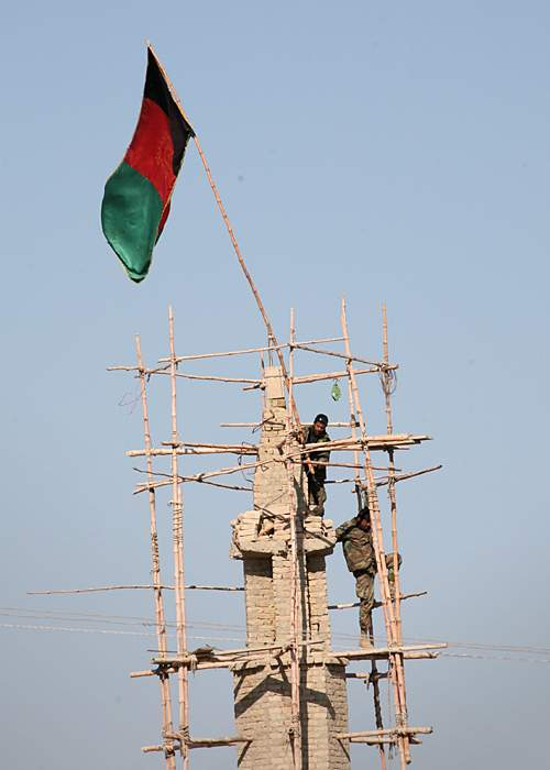 Afghan flag raised over the town