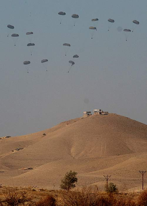 Supplies dropped by parachute