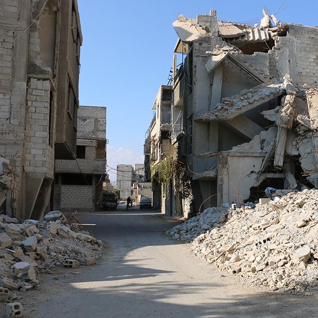 Scenes of destruction are common for Amira