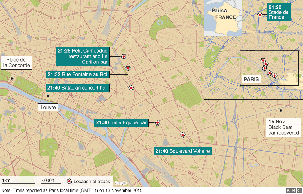 Bataclan Concert Hall Paris Map.Paris Attacks What Happened On The Night Bbc News