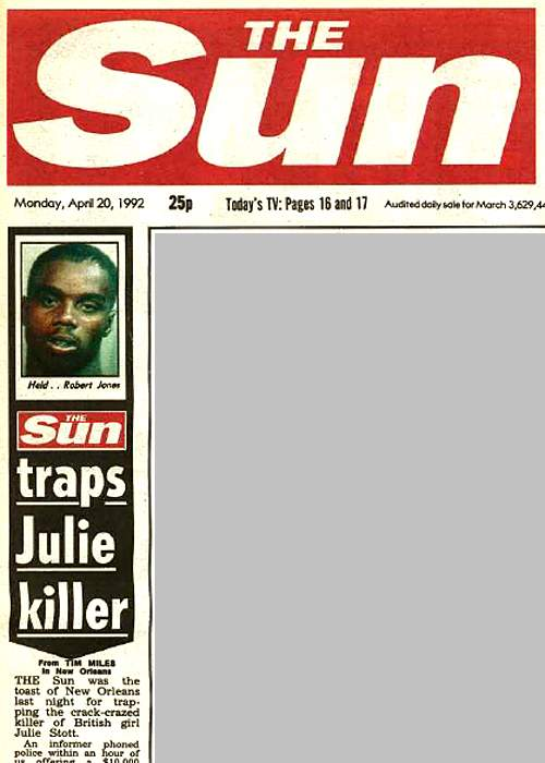 The Sun front page, 20 April 1992