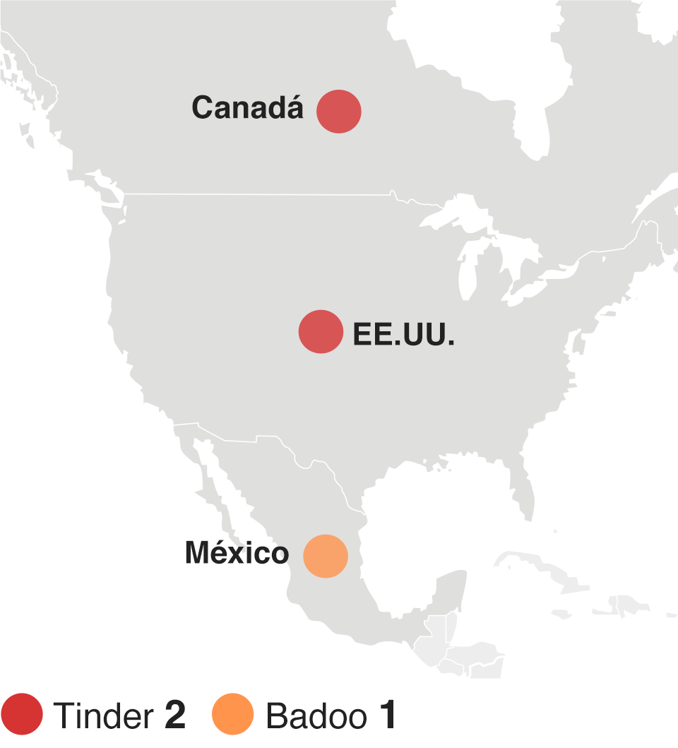 Mapa mostrando las apps de citas más descargadas en América del Norte durante 2015