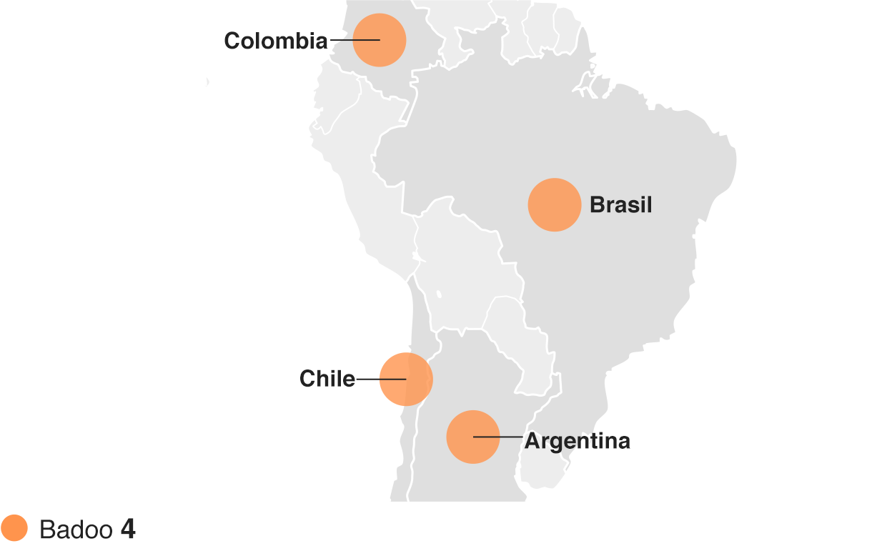 Mapa mostrando las apps de citas más descargadas en Sudamérica durante 2015