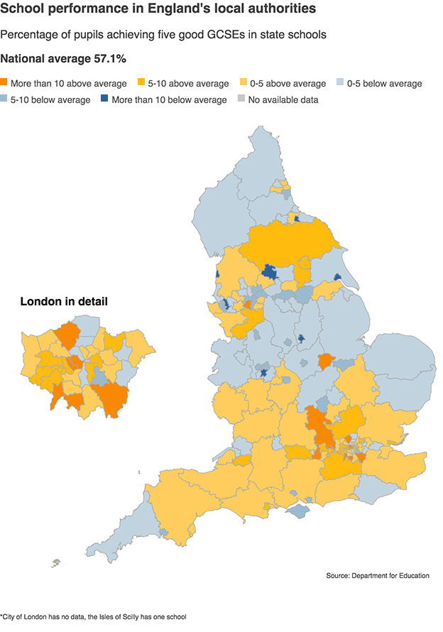 Graphic: map of councils in England