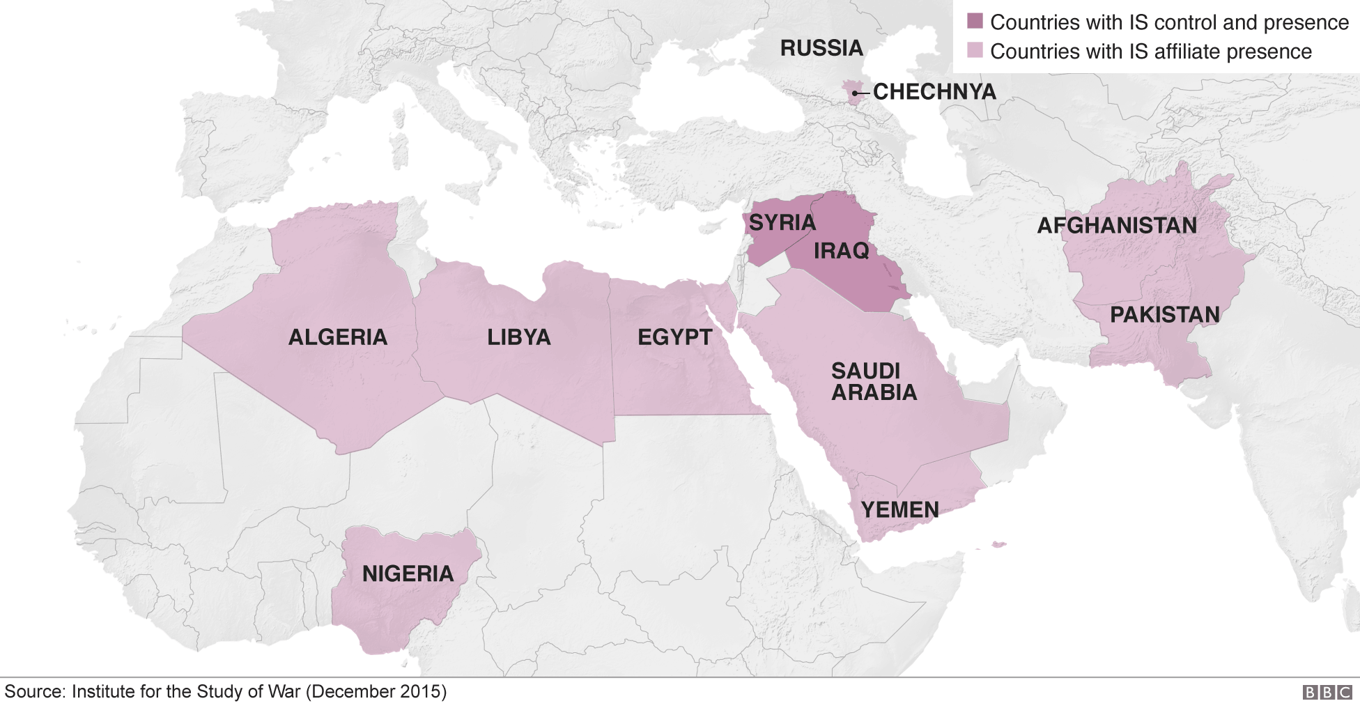 Map showing countries with IS affiliates