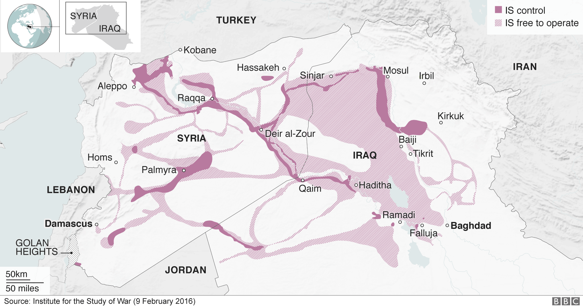 Map of areas controlled by IS