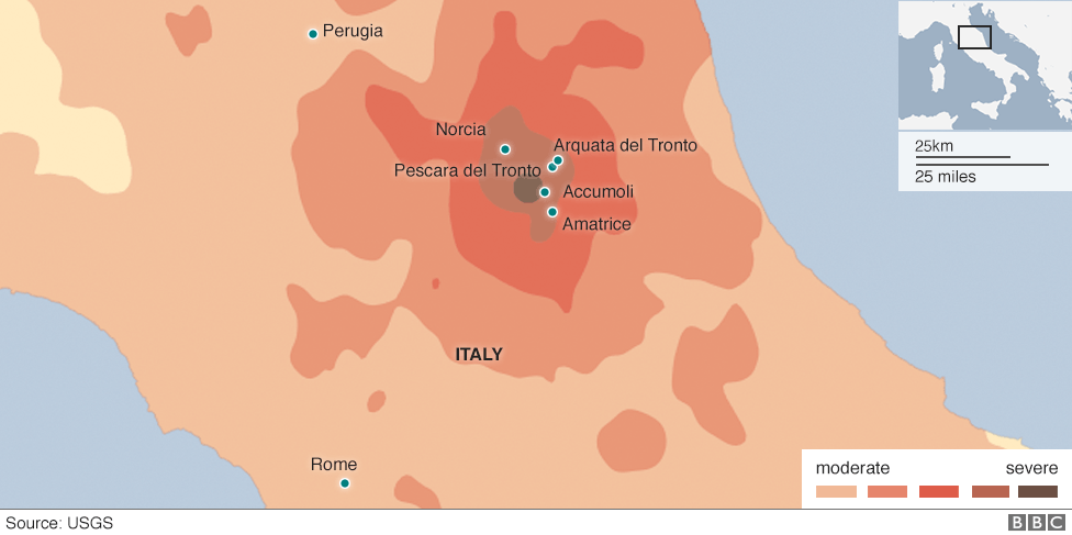 Show A Map Of Italy.Italy Earthquake Before And After Images Show Destruction Bbc News