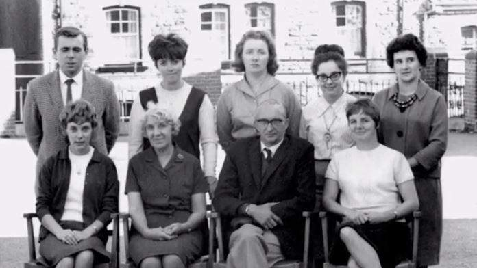 Some of the teaching staff: Head teacher Miss Jennings (front second left) was killed in her study