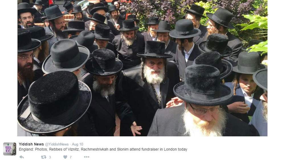 A picture posted to Twitter by Yiddish News shows people in London attending the fundraiser