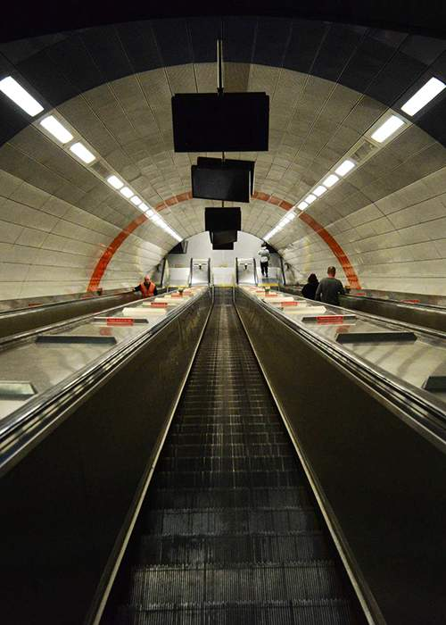 Escalator to Haymarket metro platforms