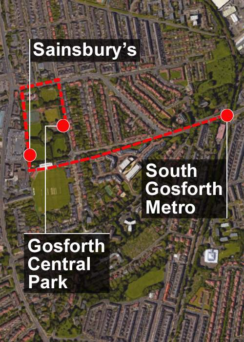 Aerial view of Gosforth - showing the girls' possible route