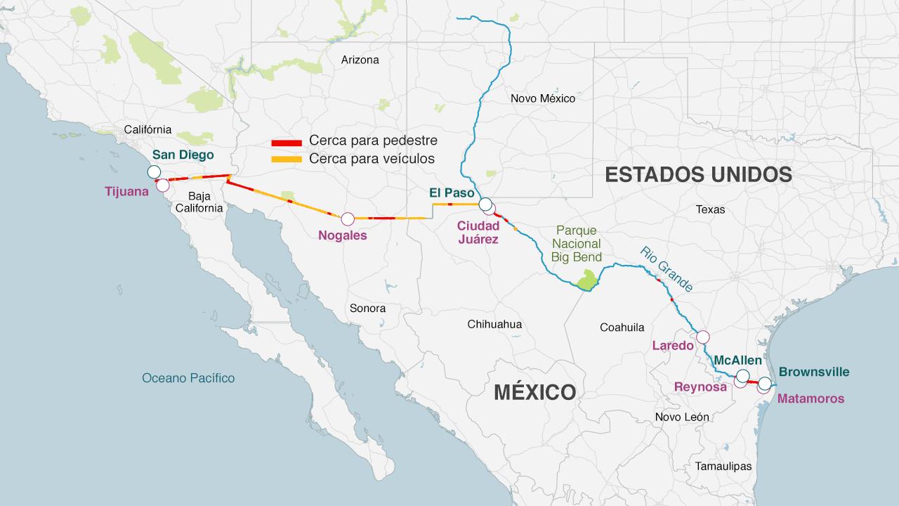 Existem trechos da fronteira que já se encontram separados por uma cerca. Durante o governo do presidente George W Bush, foram construídos mais de mil quilômetros de cerca e barreiras impedindo a livre circulação de pessoas e veículos.