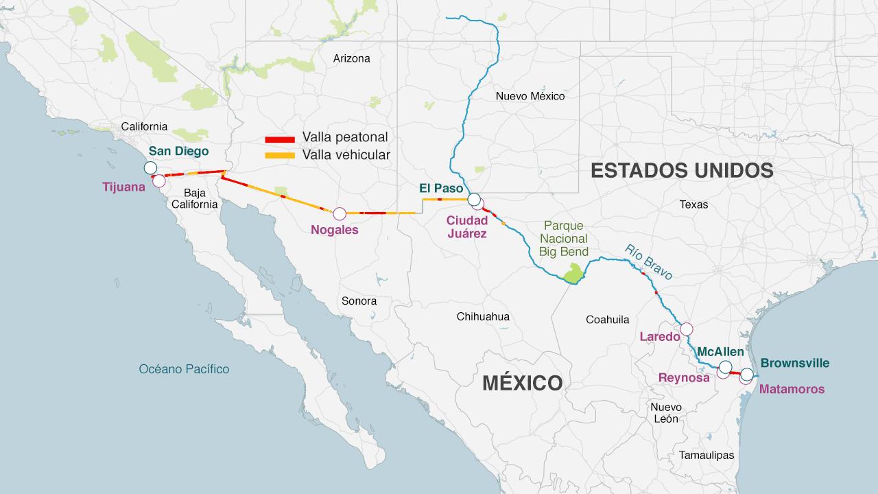 Ya existe una valla a lo largo de la frontera. Más de 1.050 km de barreras contra el tráfico vehicular y peatonal fueron instaladas por el presidente George W. Bush, a pesar de numerosas objeciones.
