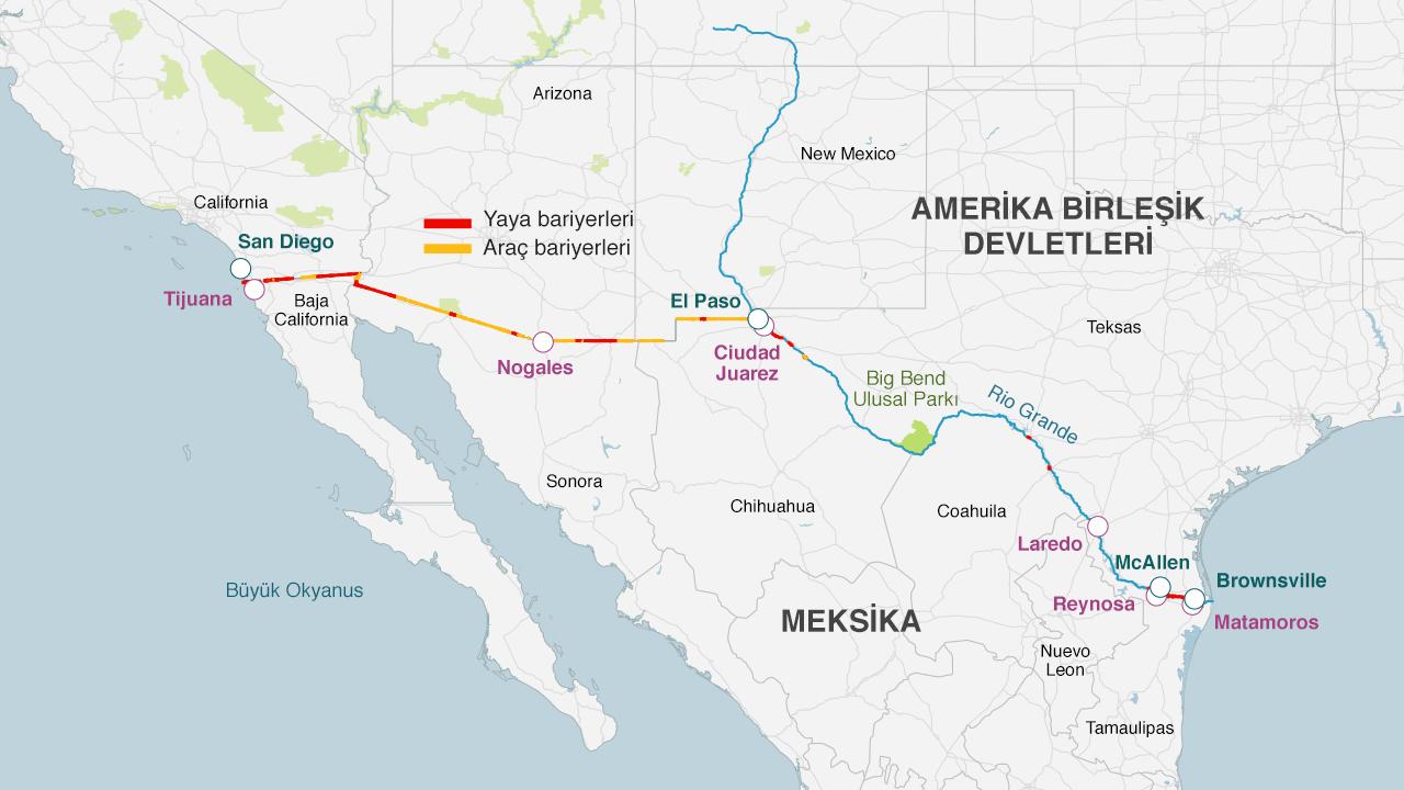 Sınır hattında zaten bariyerler bulunuyor. Başkan George W Bush döneminde, karşılaşılan çeşitli zorluklara karşın 1050 kilometre uzunluğunda, yayalar ve araçları engellemeye yönelik bariyer yerleştirilmişti.