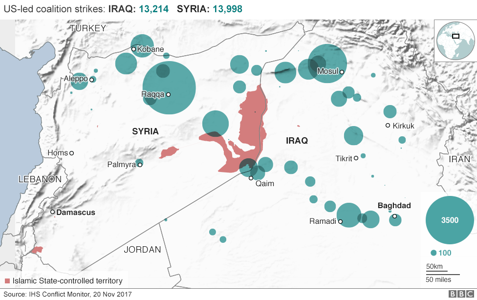 Islamic state and the crisis in iraq and syria in maps bbc news the us led coalition has conducted more than 13200 air strikes against is targets in iraq since august 2014 gumiabroncs Image collections