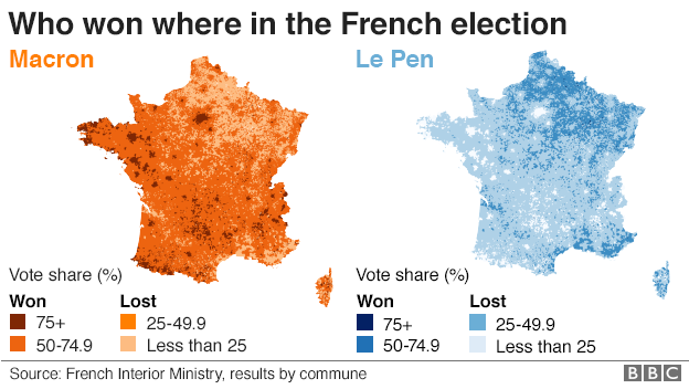 Map Of France Election Results.The Maps That Show How France Voted And Why Bbc News