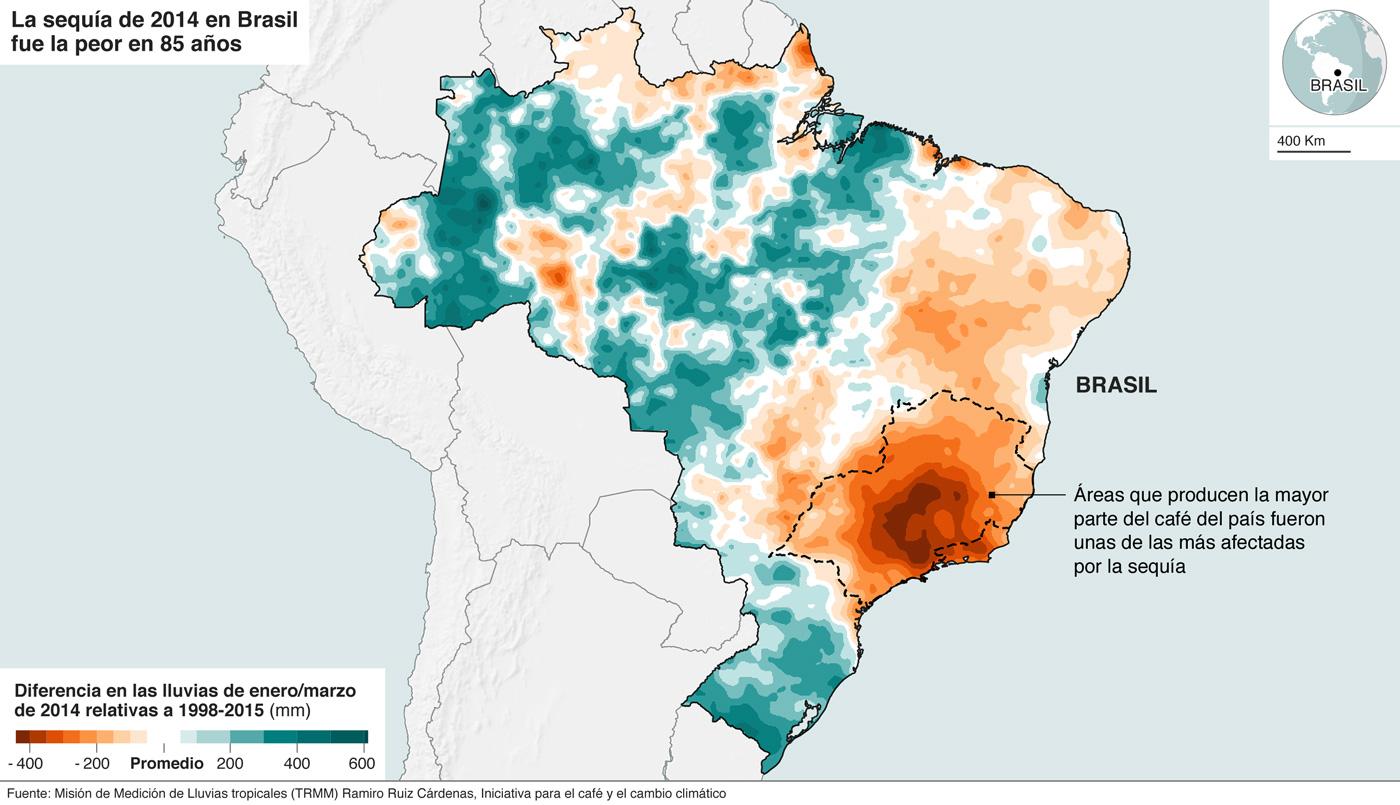 Mapa que muestra cómo el impacto de la sequía en Brasil afectó las principales zonas cafeteras del país.