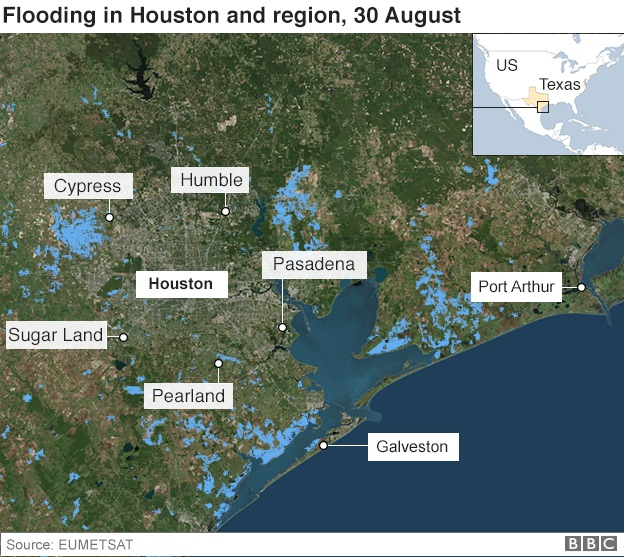 In Maps Houston And Texas Flooding Bbc News