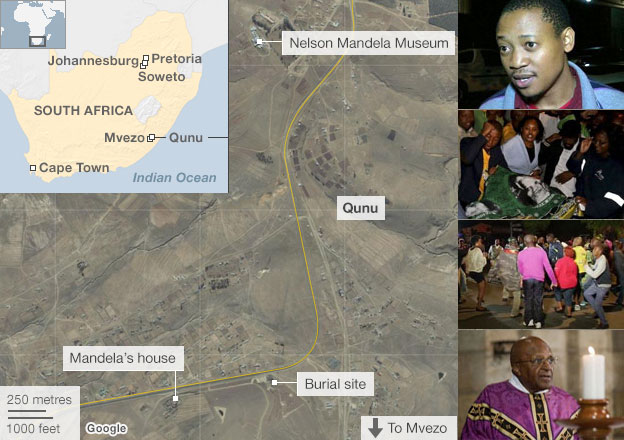 Map showing key locations relating to Nelson Mandela's life