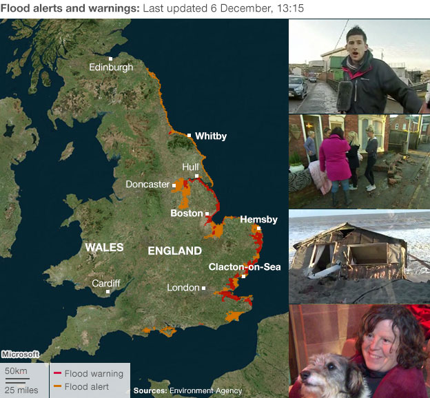 Map of UK flood alerts