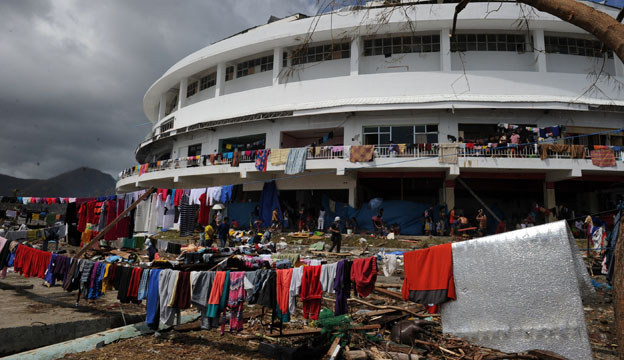 View of stadium and washing outside