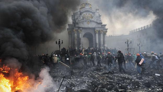 Burning barricades