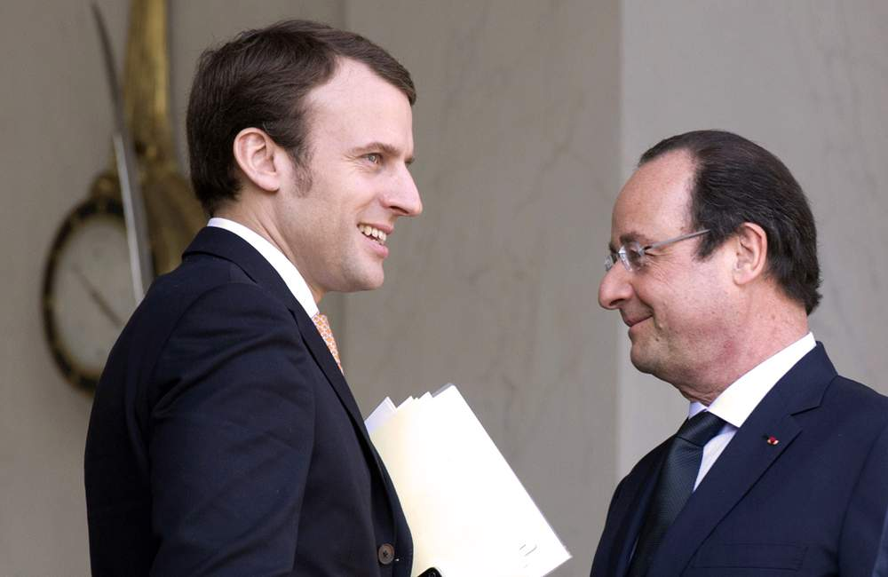 Macron with President Hollande
