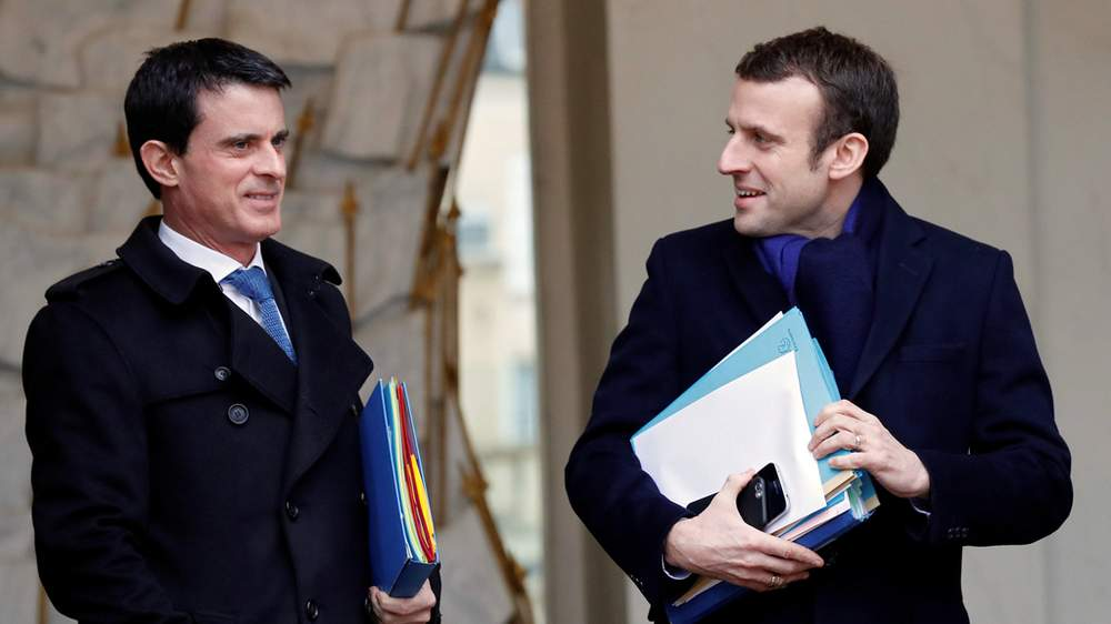 Macron and Valls pictured in 2016