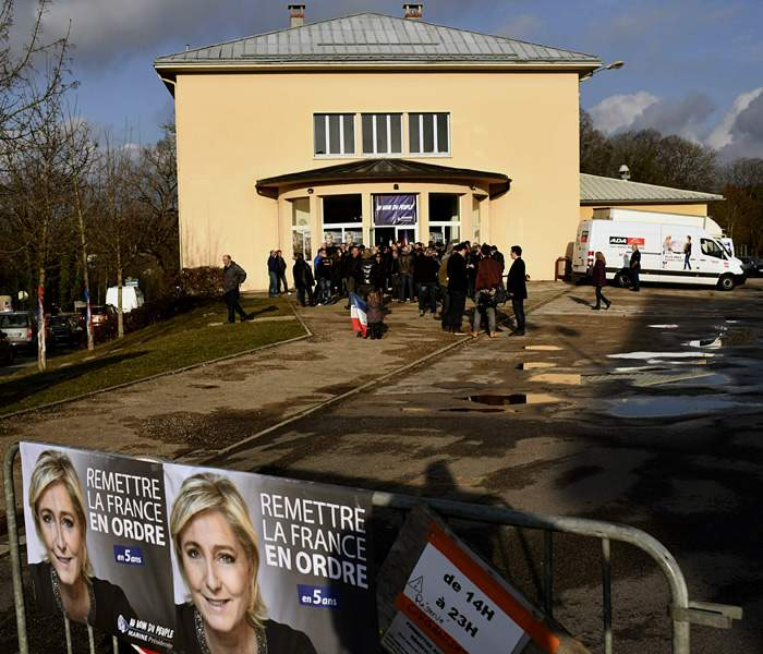 FN supporters gather to hear Marine Le Pen Clairvaux-les-Lacs, France, February 2017 (Getty Images)