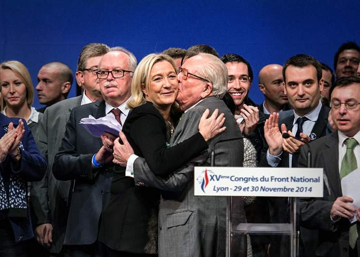 Marine and Jean-Marie Le Pen in 2014 before their estrangement(Getty Images)