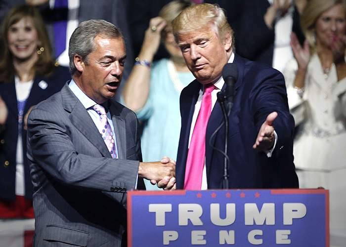Brexit campaigner Nigel Farage with Donald Trump in August 2016,Mississippi, USA(AP)