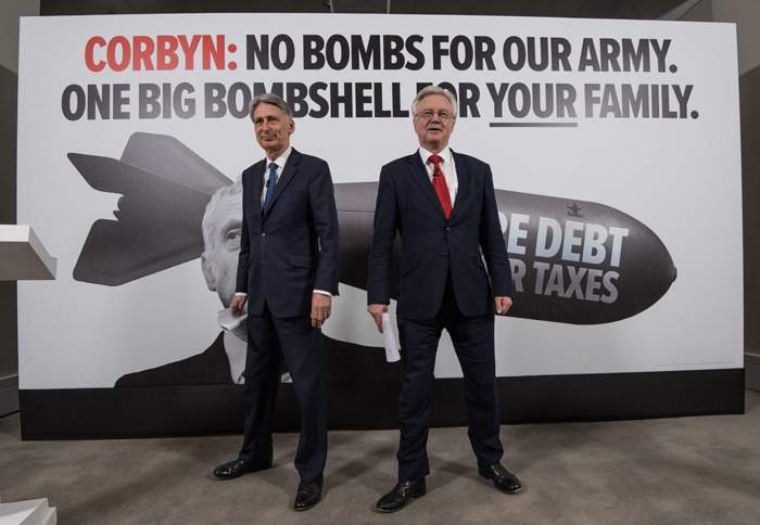 Philip Hammond and David Davis at a campaign event: Fear of Corbyn was a key plank of Conservative strategy
