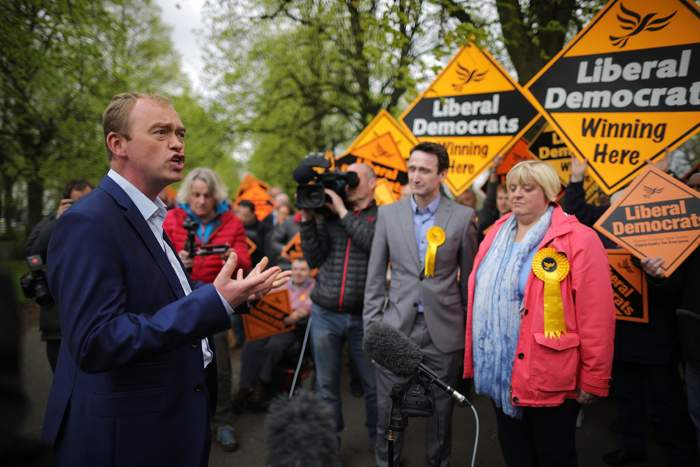 Former Lib Dem leader Tim Farron - his party ended up with 12 MPs