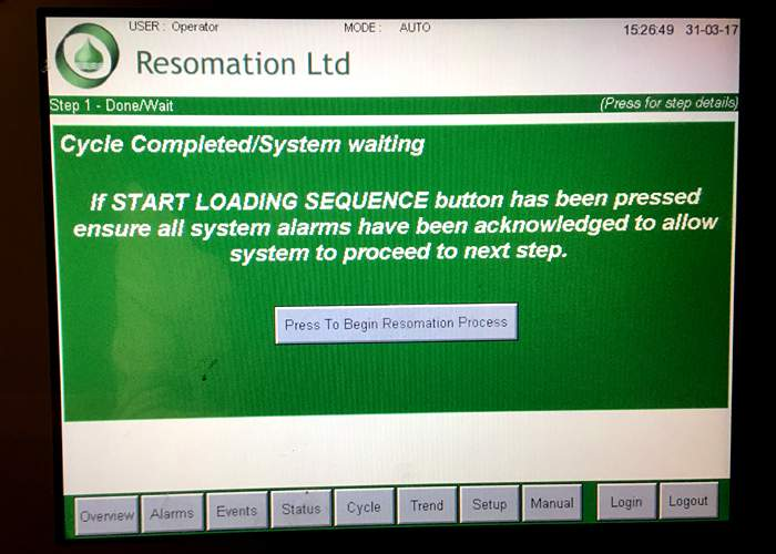 Touch screen on a resomation machine