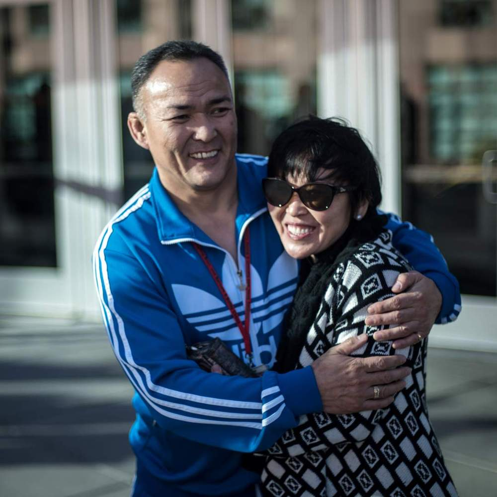 """Chimgee Haltarhuu with the coach of the current """"Mongolian Marvels"""""""""""