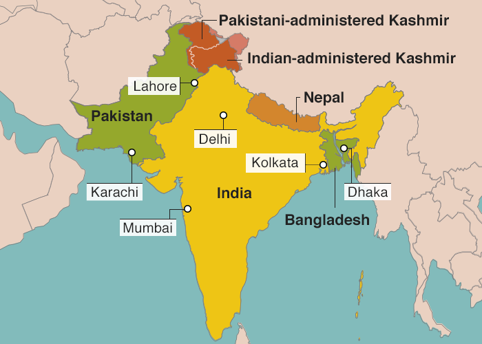 Indian subcontinent 2017(In August 1947 Bangladesh was known as East Pakistan and Kashmir as the Princely State of Jammu and Kashmir)