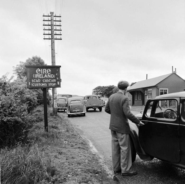 A customs post on the Belfast-Dublin road in the 1950s