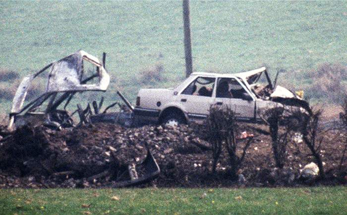 1987: Wreckage from the explosion which killed Lord Justice Gibson and his wife