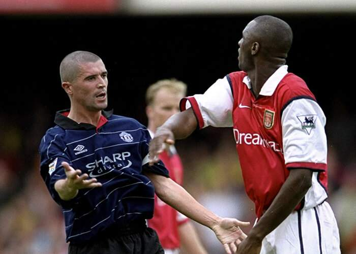 The enforcers - clashes between Keane (left) and Vieira (right) epitomised the fierce rivalry between Manchester United and Arsenal