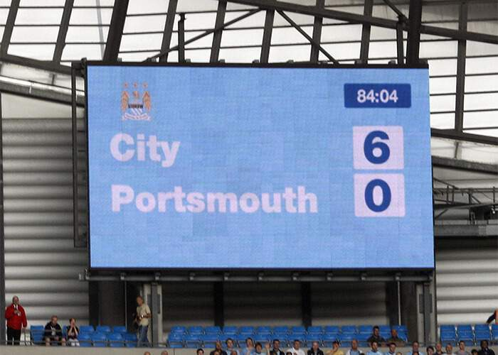 As a sign of the way the future fortunes of the respective sides Manchester City beat Portsmouth 6-0 on 21 September 2008