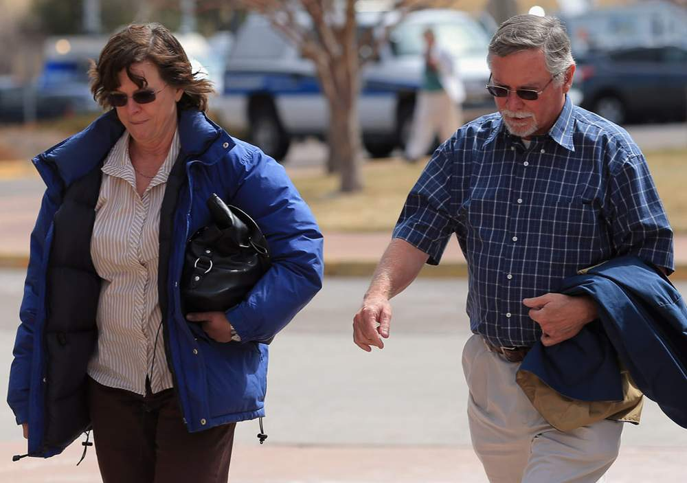 Arlene and Bob Holmes arrive at the court building